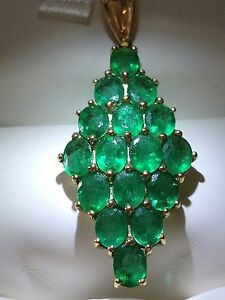 AAA Brazilian Emerald 5ct Pendant Yellow Gold