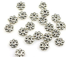 50 ANTIQUE SILVER DAISY METAL SPACER BEADS 6MM