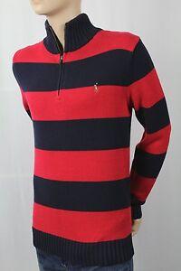 Children POLO Ralph Lauren Red Navy 1/2 Half Zip Sweater Multi Colored Pony NWT