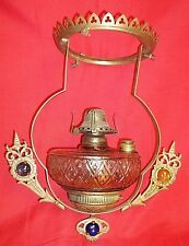 OIL LAMP KEROSENE ~ ALADDIN LAMP ~ JEWELED FONT ~ COUNTRY STORE