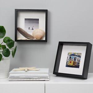2x Set IKEA SANNAHED Ribba Nachfolger Bilderrahmen schwarz 25x25cm  Passepartout