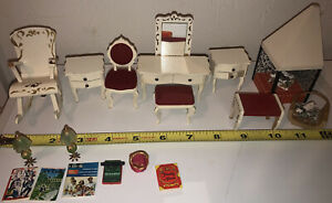 Vintage Lot Of Dollhouse Furniture-Lundby Fireplace Rocking Chair Vanity+More