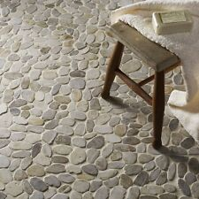 White flat riverstone pebble mosaic wall & floor tile