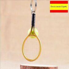 Llavero Raqueta de tenis color dorado con pelota metalizado Key chain NUEVO