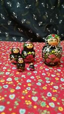 5 Piece Russian Wood Nesting/Stacking Dolls Floral W/Lady Bug