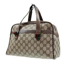 GUCCI Original GG Web Stripe Hand Bag Brown PVC Leather Vintage Auth #R547 W