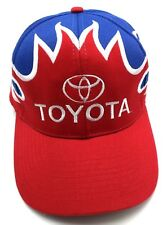 TOYOTA flame pattern red / white / blue adjustable cap / hat - leather strap