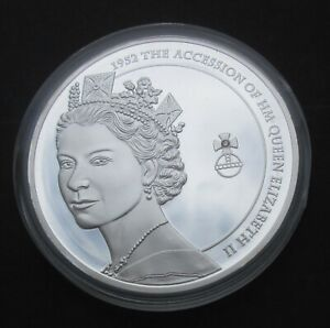 2012 QUEEN'S DIAMOND JUBILEE proof coin medallion (50 mm) contains real diamond