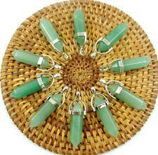 10PCS Wholesale aventurine Hexagonal Point Pendant Gemstone Jewelry Necklace