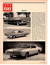 1966 BUICK WILDCAT / GS / RIVIERA ~  ORIGINAL NEW CAR PREVIEW ARTICLE / AD