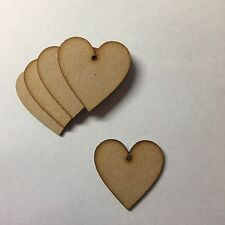 Wooden 40mm(4cm) MDF Hearts blank craft shape sign with hole laser cut