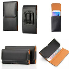 Luxury Pouch Belt Holster Card PU Leather Black Soft Case Cover For Cell Phones