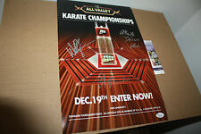 THE KARATE KID 11X17 TOURNAMENT POSTER SIGNED BY ZABKA,KOVE & RALPH MACCHIO JSA