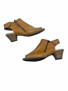 EARTH Kristy Sand Brown Wide Leather Comfort Peep Toe Heels Shoes Women's US 8 D
