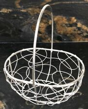 Small Silver Oval Wire Basket With Handle  Valentine's Day, Weddings Favours