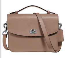 🌺🌹Coach Cassie 68348 Crossbody  In Polished Pebble Leather Taupe/Sliver