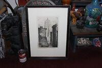 Antique Leon Pescheret Etching La Salle Street Chicago Illinois 1930 Signed