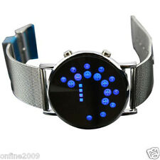 New Man LED Round Mirror Blue Circles Stainless Steel  Glass Modern Magic Watch