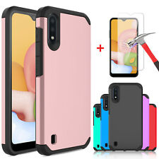 For Samsung Galaxy A01 Shockproof Hybrid Phone Case Cover / HD Screen Protector
