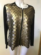 T & W Designs Women's Zip Fashion Jacket Black And Gold Size XL