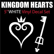 "Kingdom Hearts Keyblade & Heart 5"" Tall White Vinyl Decal - BOGO"