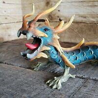 Vintage Japanese Dragon Figure Statue Asian Art Figurine Hand Painted Glass Eyes