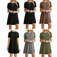 Plus Size Casual Loose Party Cotton Blend Long T-shirt Mini Dress Tops Blouse