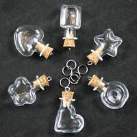 Set of 6 empty GLASS BOTTLES star,heart,round,square,flower CORK BOTTLE PENDANTS