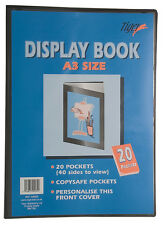 Tiger A3 Black Display Book 20 Pocket Presentation Folder With Plastic Pockets