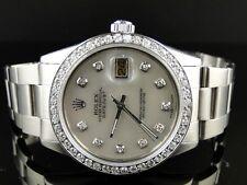 Mens Rolex Datejust White Dial Genuine Diamond Watch 2.15 Ct Mid 80'S