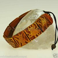 Armband Horn Braun Herren Mantra Symbole Buddhismus Glück Bohemian Nepal s32