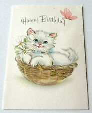 Vintage Greeting Card Cute Kitten in Basket with Daisies Pink Butterfly Hallmark