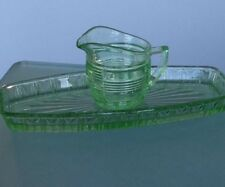 Green 1930's Depression Glass Tray And Jug - Art Deco
