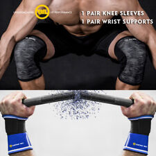 Knee Sleeves 7mm Weightlifting Squats Wrist Wraps Straps Gym Strongman FULL SET