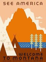 ART PRINT POSTER VINTAGE TRAVEL MONTANA USA MOUNTAIN TIPI NOFL1535