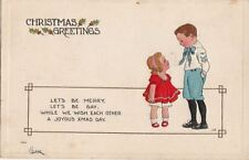 Postcard Christmas Greetings Boy Sailor Suit Girl Red Dress