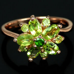 NATURAL AAA GREEN PERIDOT & CHROME DIOPSIDE STERLING 925 SILVER RING SIZE 6.75