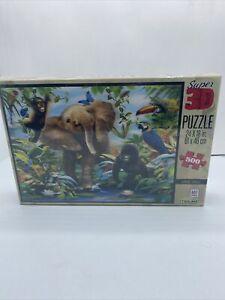 """Jigsaw Puzzle: Milton Bradley Super 3D Junior Jungle Puzzle 500 pieces 24"""" x 18"""""""