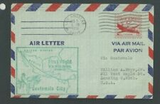 1951 Aerogramme Air Letter Sheet UC16 10c On Blue Used Entire To Guatemala 1st--