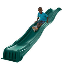 Wave Slide Kids Playground Equipment Backyard Outdoor Play Area Green Plastic