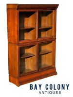 19TH C ANTIQUE VICTORIAN TIGER OAK BARRISTER BOOKCASE ~ DANNER MANUFACTURING CO