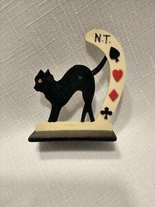 Vintage celluloid bridge  trump marker cat  swinging tail suits