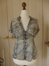 MARKS & SPENCER CLASSICS Blouse Top Chiffon Leopard Print * Grey UK size 12