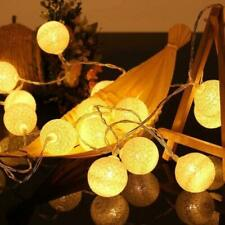 LED BATTERY WHITE COTTON BALL STRING FAIRY LIGHTS HOME DECOR WEDDING PARTY PATIO