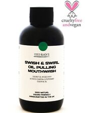 Vegan 100% Natural Activated Charcoal & Peppermint Coconut Oil Pulling Mouthwash