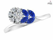 Natural Tanzanite 14K White Gold Certified Real Diamond Bridal Ring Gift for Her