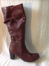 Pavers Burgundy Knee High Leather Boots Size 41