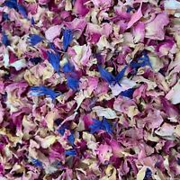 Natural Biodegradable Wedding Confetti Pink Blue Rose Mix Petals, Dried Flower