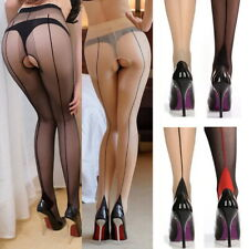 20D Back Seam Lined Cuban High Heel French Style Crotchless Sheer Hosiery Retro