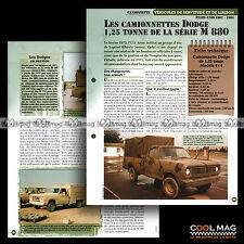 #vm048.08 ★ CAMIONETTE DODGE 1.25 T SERIE M 880 USA ★ Fiche Véhicule Militaire